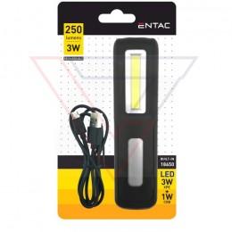 ENTAC Svietidlo pracovné 1W+3W dobíjateľné/s hákom