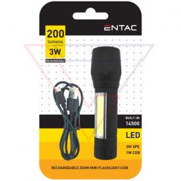 ENTAC Svietidlo mini 3W+COB dobíjateľné