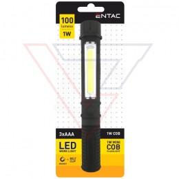 ENTAC Svietidlo pracovné magnetické 1W Pero čierne