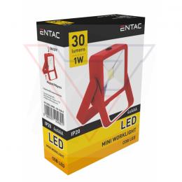 ENTAC Svietidlo- mini reflektor 1W COB červený
