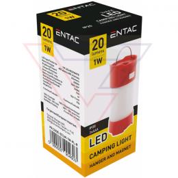 ENTAC Kempingové svietidlo Magnet Plastic red
