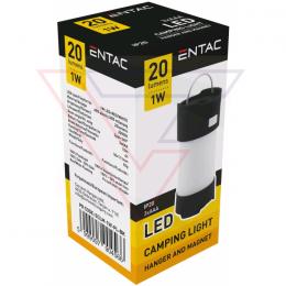 ENTAC Kempingové svietidlo Magnet Plastic black