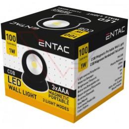 ENTAC Svietidlo nástenné magnetické čierne