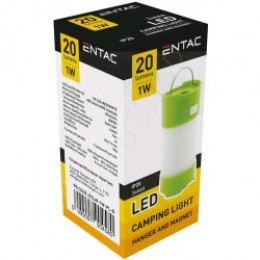 ENTAC Kempingové svietidlo Magnet Plastic green